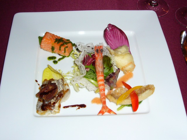 030.Foie Gras on Cut;assfish, Escabèche of Whiting, Smoked Salmon, Stonefish Fritter, and ...