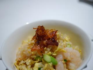 芝海老とアスパラガスの炒飯 桜海老醤添え