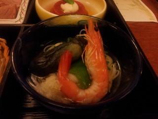 有頭海老と茄子の素麺