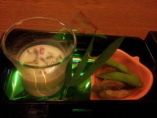 小鮎南蛮漬けと枝豆、とうもろこしのすり流し、豆乳仕立て