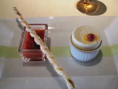 Frozen Orange Souffle with Strawberry Solbet Filling served with Strawberry Soup