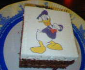 ドナルド絵柄のケーキ